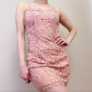 Small FOREVER 21   Pink Lace Open Back Mini Dress